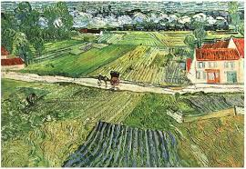image only van gogh landscape with carriage and train in the background