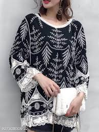 Berrylook Size Chart Round Neck Loose Fitting Floral Pullover