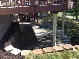 after retaining wall and concrete poured under deck