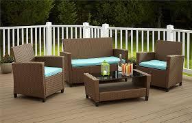 com cosco outdoor patio set 4 piece brown wicker with teal cushions garden outdoor