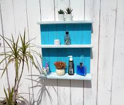 farmhouse rustic shelves bathroom blue