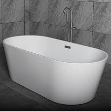 woodbridge 67 acrylic freestanding bathtub contemporary soaking tub with brushed nickel overflow and drain b 0013 bta1513