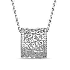 open hearts by jane seymour diamond accent barrel pendant in sterling silver