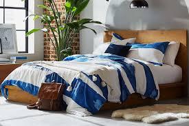 rivet modern shibori watercolor gaurmet washed stripe full queen duvet cover set at