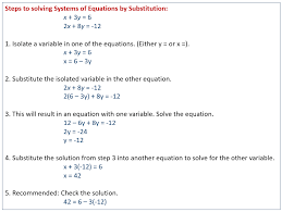 system of equations substitution system of equations elimination