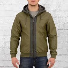 pelle pelle mens fake leather jacket mix up olive