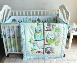 baby crib bed skirt cotton embroidery appliqued owl tree trunk homes baby crib bedding sets quilt per bed skirt fitted baby bedding set baby bedding set
