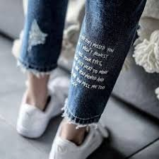 Jeans with words