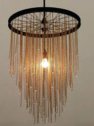 bike chain chandelier multi pendant made from a cycle wheel decorated crystal chain this truly bespoke