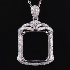 details about natural diamond semi mount pendant settings emerald cut 14 12mm 14k white gold