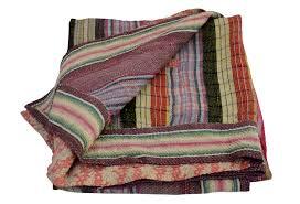 Vintage Kantha Quilt, Multicolor Stripes | Omero Home & Vintage Kantha Quilt, Multicolor Stripes Adamdwight.com