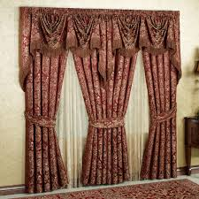 elegant kitchen curtain to add the different nuance. Modern Red Elegant Curtains With Valance Floral Motif Make It Seems So Nice And Design To Decorate The Interior Of Kitchen Curtain Add Different Nuance A