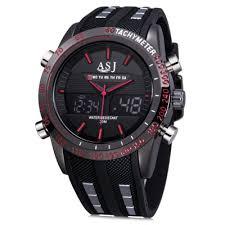 waterproof mens watches best deals online shopping gearbest com asj b067 dual movt men analog digital display watch