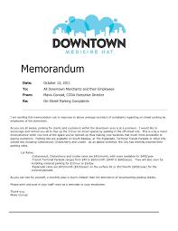 Memorandum Sample Parking Memorandum