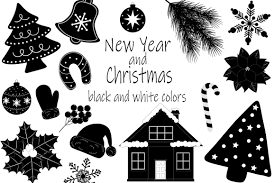 Set New Year And Christmas Black And White Colors Vector 786825 Illustrations Design Bundles In 2020 Black And White Colour Color Vector Work Diy