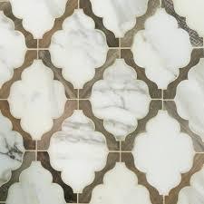 fleur snow water jet cut mosaic glass tile waterjet petite alliance teardrop tiles elongated carrara