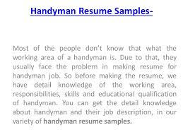 Handyman Resume Samples- Most of the people don't know that what the  working ...