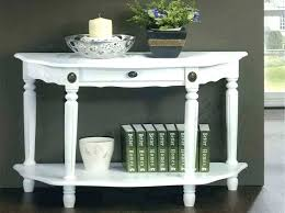 half round entry table black with drawers