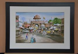 home water colour painting on paper with mount glass and frame pc 19533 main