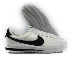 nike cortez basic leather white black silver