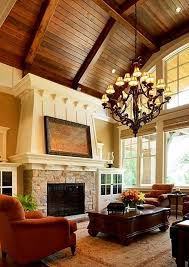 how to decorate a living room with high ceilings hanging chandeliers