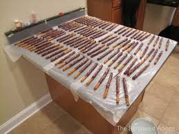 drying chocolate dipped pretzel rods