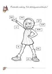 Small Picture worksheet Girl body parts coloring page