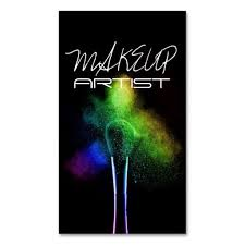 use a black background to make colors stand out makeup artist business cards