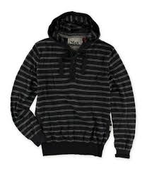 French Connection Mens Striped Knit Hooded Henley Shirt