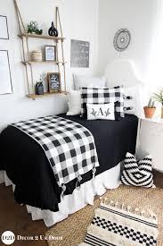 farmhouse black white gingham plaid designer dorm bedding