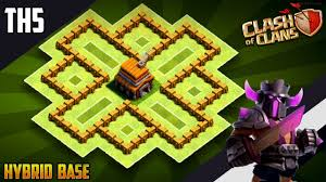 The Best Base Design For Clash Of Clans New Best Th5 Hybrid Trophy Defense Base 2019 Town Hall 5 Hybrid Base Design Clash Of Clans