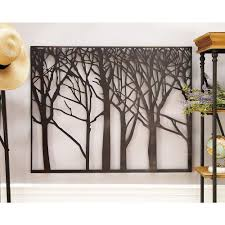 litton lane modern black iron tree and branch silhouette wall decor