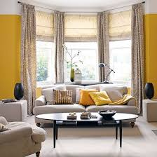 bay window furniture living. Large Bay Windows With Floor To Ceiling Curtains Yellow Wall Paint A Set Of  White Sofa Window Furniture Living