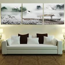 Framed 3 Panel Large 3 Part Wall Art Chinese Bedroom Sets Black and ...