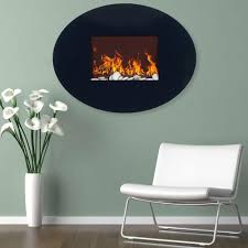 wall mount oval glass electric fireplace in black