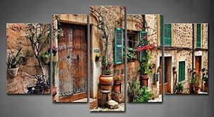 majestic design mediterranean wall art best interior amazon com 5 panel streets of old towns flower on mediterranean canvas wall art with mediterranean wall art fallow fo
