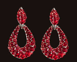 red pageant earrings