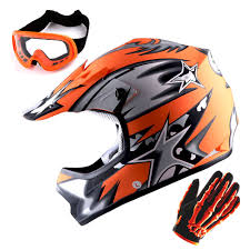 Youth Kids Motocross Helmet Mx Bmx Bike Star Orange Mx