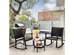 piece patio rattan rocking chair bistro