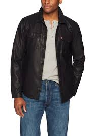 levi s men s smooth lamb touch faux leather shirt jacket