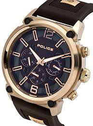 police armor men s quartz watch brown dial chronograph police armor men s quartz watch brown dial chronograph display and brown silicone strap 14378jsr 12p amazon co uk watches