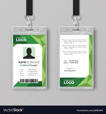 Company Id Card Template Corporate Id Card Template With Abstract Green
