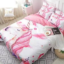 3d unicorn bedding set pink and white twin king duvet cover set fl 3 bedspreads queen for kids horse bedclothes canada 2019 from yong8