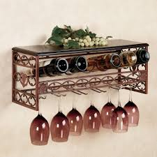 vintage style of metal wall mounted wine racks with glass holder in satin bronze finish plus decorative carving shelf details