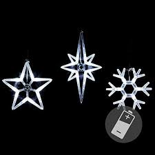 3er Set Fensterbilder Led Stern Polarstern Schneeflocke