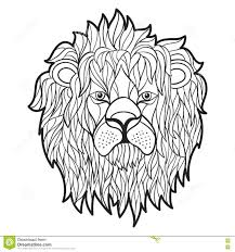 Vector Monochrome Hand Drawn Illustration Of Lion Face. Stock ...