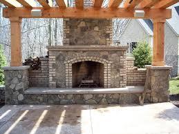 outside stone fireplace