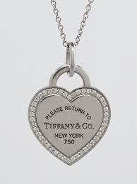 tiffany co 18k white gold and diamond return to tiffany heart tag pendant necklace