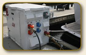 2010 property of the month the power pedestal on the dock supplies 480v 240v and 208v electrical service to each boat the big cables are the electrical supply the smsaller blue