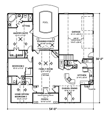One story house plan with pool idea